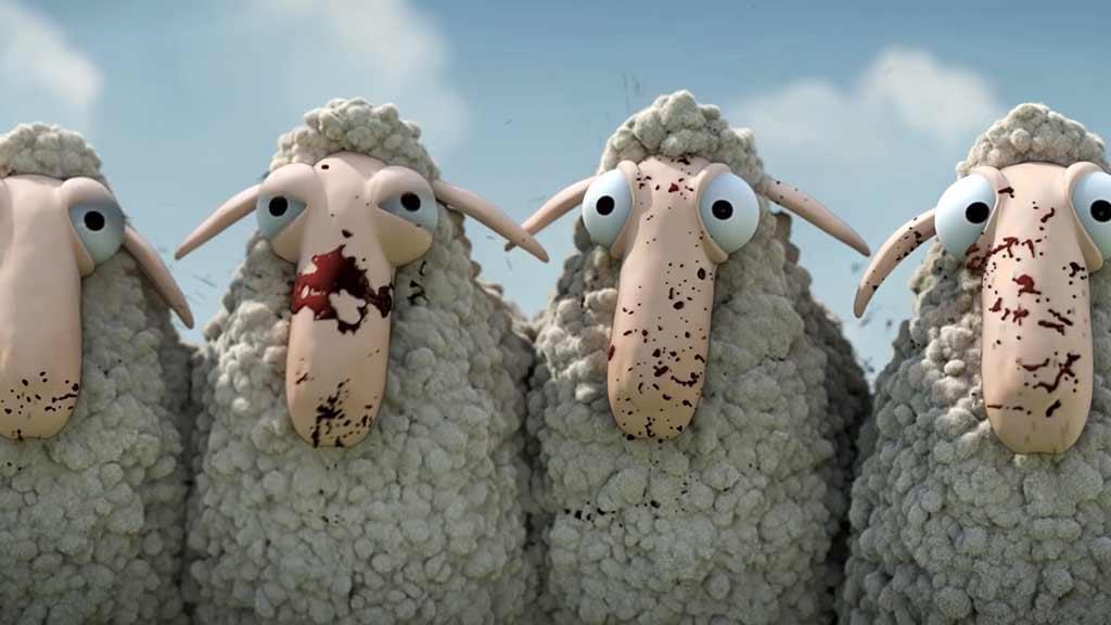 天蓝蓝,暖洋洋,两羊群在一片绿地上相遇了 ...